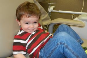 Bryce Carson being a big boy and sitting in the dental chair all by himself!