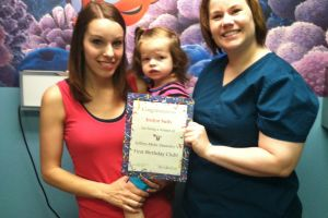 Pictured are Irelyn, her mom, Ashley, and Dr. Jessica Jeffery-Mohr
